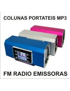 COLUNAS PORTATEIS FM RADIO , MP3 , USB , SD